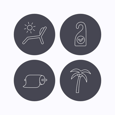 Palm tree, paper towel and beach deck chair icons. Clean room linear signs. Flat icons in circle buttons on white background. Vector