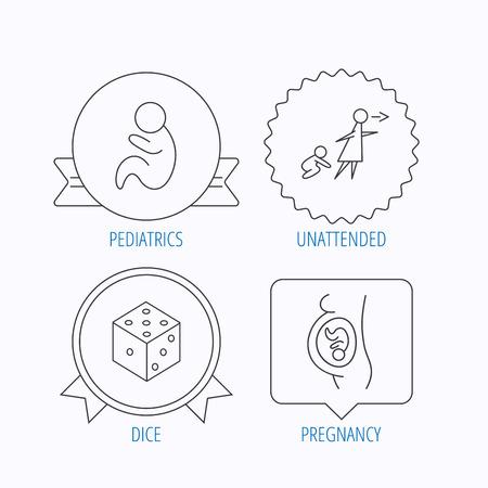 妊娠、小児科とサイコロのアイコン。無人の線形符号。メダルを授与、スター ラベル、音声バブル デザイン。ベクトル