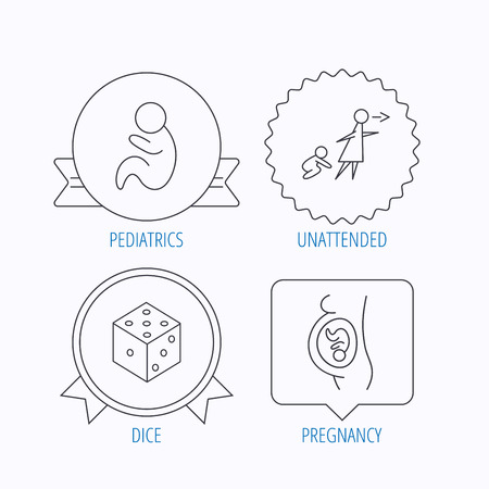unattended: Pregnancy, paediatrics and dice icons. Unattended linear sign. Award medal, star label and speech bubble designs. Vector