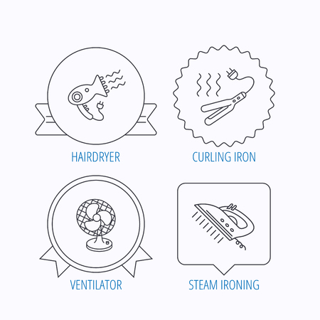 ventilator: Steam ironing, curling iron and hairdryer icons. Ventilator linear sign. Award medal, star label and speech bubble designs. Vector