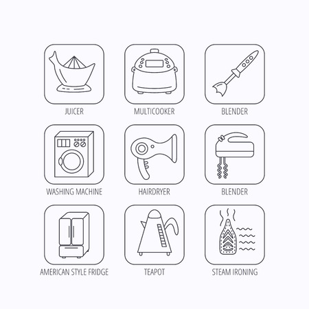 hair dryer: Washing machine, teapot and blender icons. Refrigerator fridge, juicer and steam ironing linear signs. Hair dryer, juicer icons. Flat linear icons in squares on white background. Vector