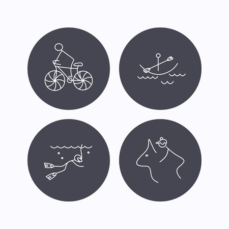 boating: Diving, biking and horseback riding icons. Boating linear sign. Flat icons in circle buttons on white background. Vector