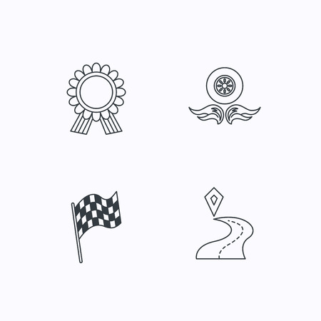 race winner: Winner award medal, destination and flag icons. Race flag, wheel on fire linear signs. Flat linear icons on white background. Vector