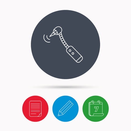 bur: Drilling tool icon. Dental oral bur sign. Calendar, pencil or edit and document file signs. Vector