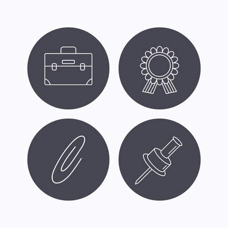 white pushpin: Award medal, pushpin and briefcase icons. Safety pin linear sign. Flat icons in circle buttons on white background. Vector Illustration
