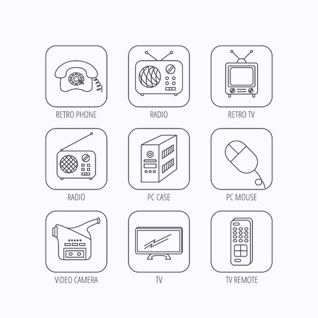tv remote: Radio, TV remote and video camera icons. Retro phone, PC case and mouse linear signs. Flat linear icons in squares on white background. Vector