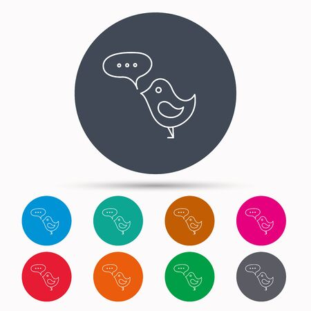 fowl: Bird with speech bubble icon. Chat talk sign. Cute small fowl symbol. Icons in colour circle buttons. Vector Illustration