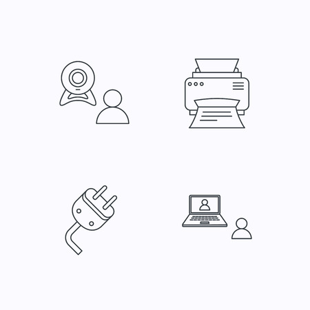 portative: Video chat, printer and electric plug icons. Video conference linear sign. Flat linear icons on white background. Vector Illustration