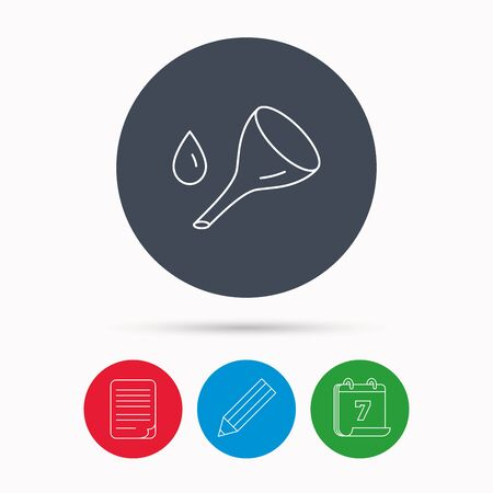 oil change: Oil change service icon. Fuel can with drop sign. Calendar, pencil or edit and document file signs. Vector