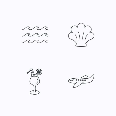 thin shell: Shell, waves and cocktail icons. Airplane linear sign. Flat linear icons on white background. Vector Illustration
