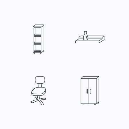 shelving: Office chair, cupboard and shelving icons. Wall shelf linear sign. Flat linear icons on white background. Vector
