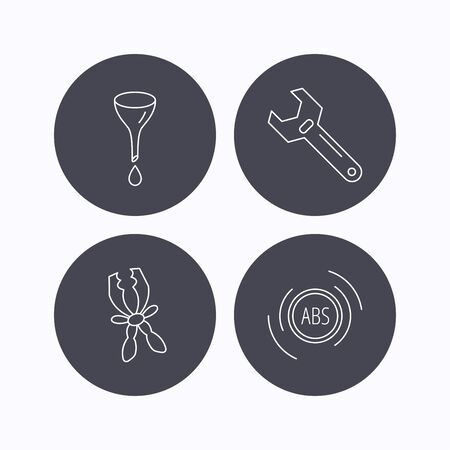 oil change: Adjustable wrench, oil change and abs icons. Battery terminal linear sign. Flat icons in circle buttons on white background. Vector