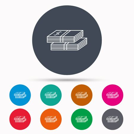 wads: Cash icon. Dollar money sign. USD currency symbol. 2 wads of money. Icons in colour circle buttons. Vector