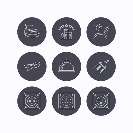 planos electricos: Hotel, swimming pool and beach deck chair icons. Reception bell, shower and airplane linear signs. European, UK and USA socket icons. Flat icons in circle buttons on white background. Vector