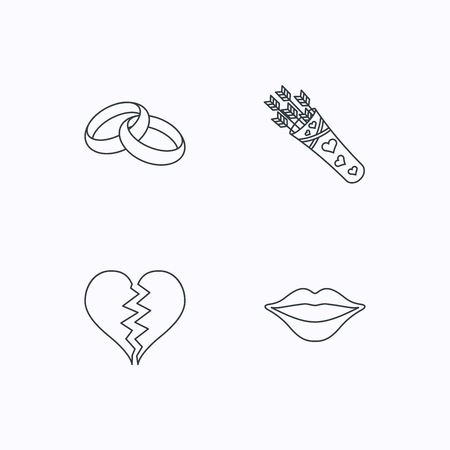 amour: Broken heart, kiss and wedding rings icons. Valentine amour arrows linear sign. Flat linear icons on white background. Vector
