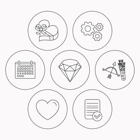 brilliant: Love heart, brilliant and gift box icons. Amour bow with arrows linear signs. Check file, calendar and cogwheel icons. Vector