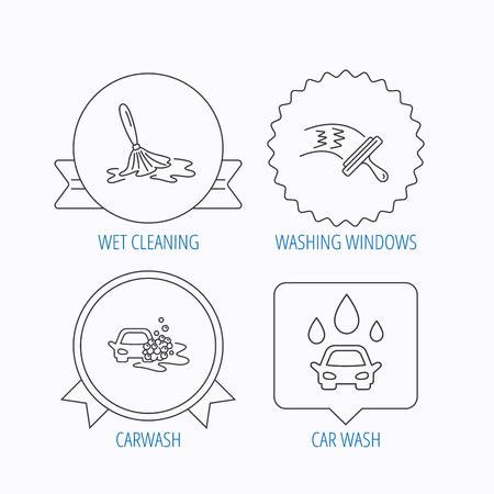washing windows: Car wash icons. Automatic cleaning station linear signs. Washing windows, wet cleaning and foam bucket flat line icons. Award medal, star label and speech bubble designs. Vector