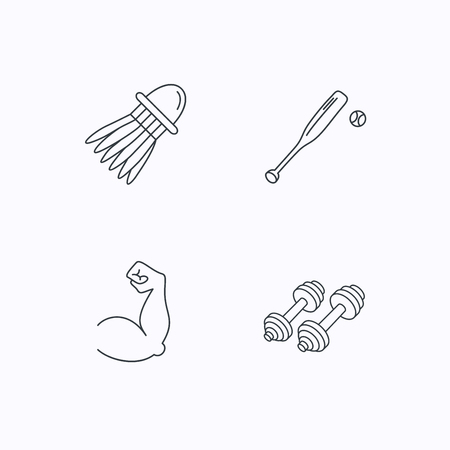 biceps: Fitness sport, biceps and baseball icons. Badminton linear sign. Flat linear icons on white background. Vector Illustration