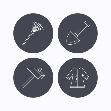 cloak: Shovel, hammer and cloak icons. Rake linear sign. Flat icons in circle buttons on white background. Vector Illustration