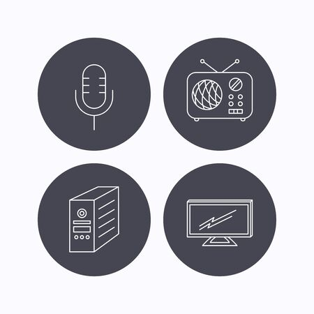 tv retro: TV, retro radio and microphone icons. PC case linear sign. Flat icons in circle buttons on white background. Vector Illustration