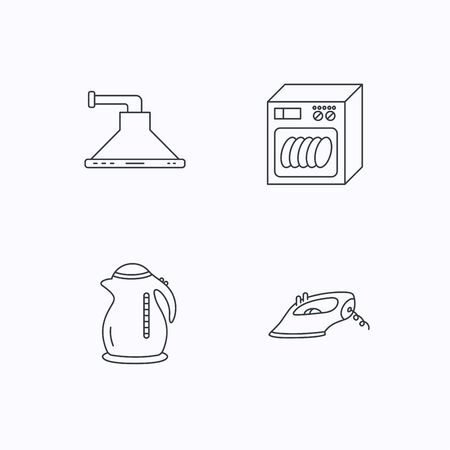 flat iron: Dishwasher, kettle and kitchen hood icons. Iron linear sign. Flat linear icons on white background. Vector Illustration
