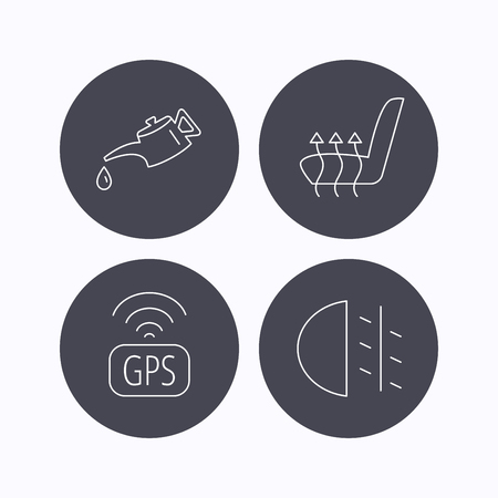 heated: Motor oil, passing fog lights and gps icons. Heated seats linear sign. Flat icons in circle buttons on white background. Vector