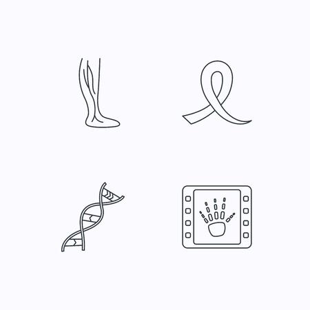 oncology: Phlebology, DNA and X-ray icons. Oncology awareness ribbon linear sign. Flat linear icons on white background. Vector Illustration