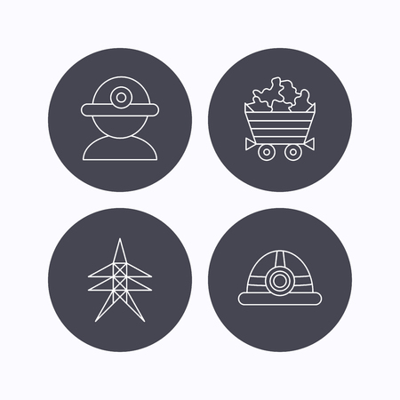 searcher: Worker, minerals and engineering helm icons. Electricity station linear sign. Flat icons in circle buttons on white background. Vector