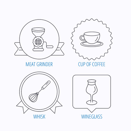 meat grinder: Coffee cup, whisk and wineglass icons. Meat grinder linear sign. Award medal, star label and speech bubble designs. Vector Illustration