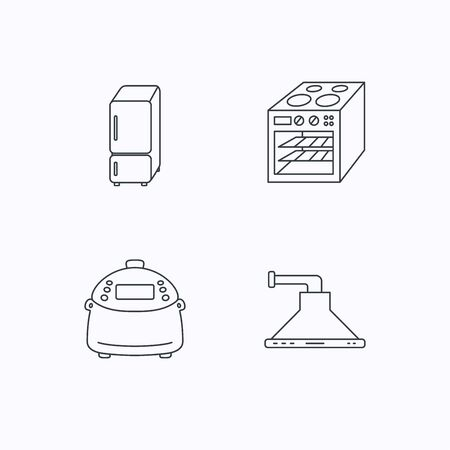 refrigerator kitchen: Refrigerator, multicooker and oven icons. Kitchen hood linear sign. Flat linear icons on white background. Vector