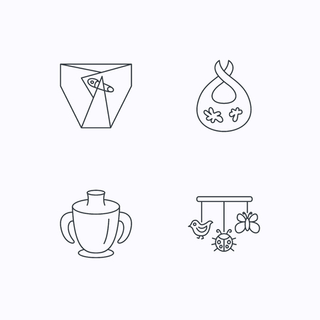 toy chest: Diapers, child mug and baby toys icons. Dirty bib linear sign. Flat linear icons on white background. Vector