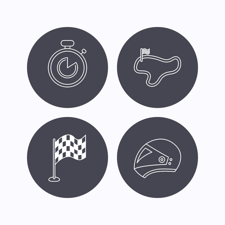 lap: Race flag, timer and motorcycle helmet icons. Race lap linear sign. Flat icons in circle buttons on white background. Vector Illustration