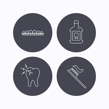 dental braces: Toothache, dental braces and mouthwash icons. Toothbrush linear sign. Flat icons in circle buttons on white background. Vector Illustration