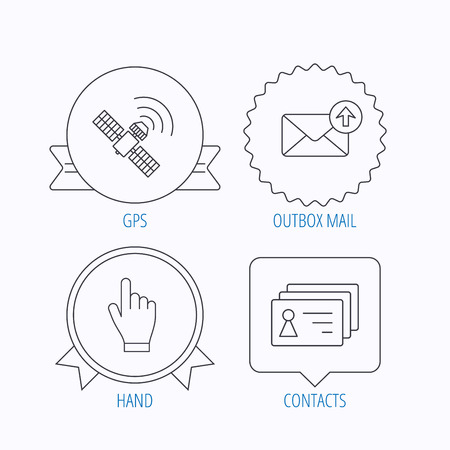 outbox: Hand pointer, contacts and gps satellite icons. Outbox mail linear sign. Award medal, star label and speech bubble designs. Vector
