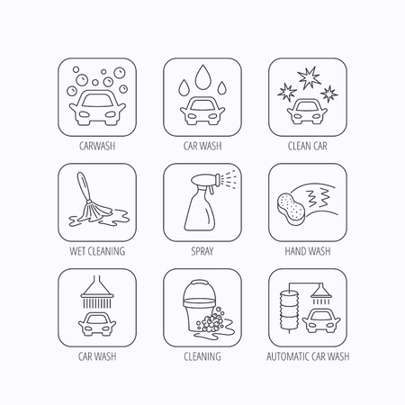 foam bubbles: Car wash icons. Automatic cleaning station linear signs. Bucket with foam bubbles, sponge and spray flat line icons. Flat linear icons in squares on white background. Vector
