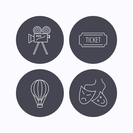 theatre masks: Video camera, ticket and theatre masks icons. Air balloon linear sign. Flat icons in circle buttons on white background. Vector