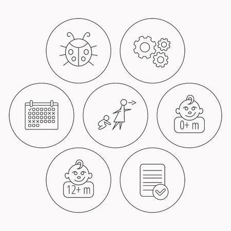 Infant child, ladybug and 0+ months child icons. Unattended child linear sign. Check file, calendar and cogwheel icons. Vector