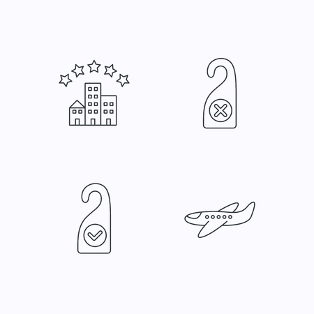 5 door: Hotel, airplane and clean room icons. Do not disturb linear sign. Flat linear icons on white background. Vector