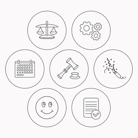 shah: Scales of justice, auction hammer and slapstick icons. Smiling face linear sign. Check file, calendar and cogwheel icons. Vector