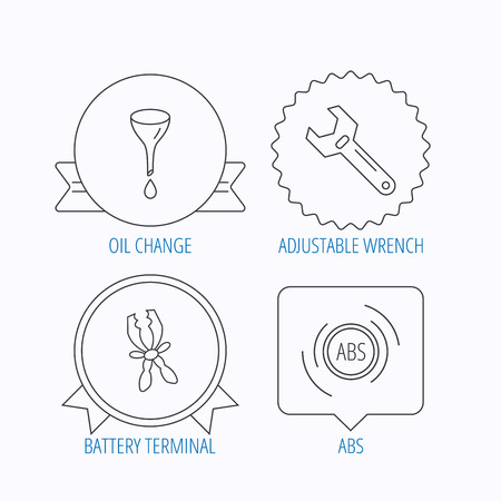 oil change: Adjustable wrench, oil change and abs icons. Battery terminal linear sign. Award medal, star label and speech bubble designs. Vector Illustration