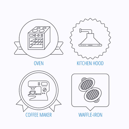 sign maker: Waffle-iron, coffee maker and oven icons. Kitchen hood linear sign. Award medal, star label and speech bubble designs. Vector Illustration