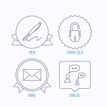 bubble pen: Dialog, mail envelope and open lock icons. Pen linear sign. Award medal, star label and speech bubble designs. Vector