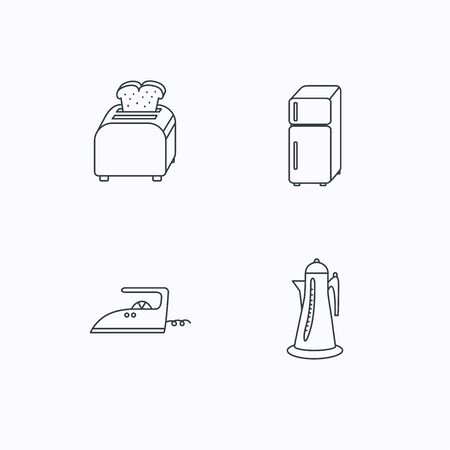 flat iron: Toaster, refrigerator and iron icons. Kettle linear sign. Flat linear icons on white background. Vector Illustration