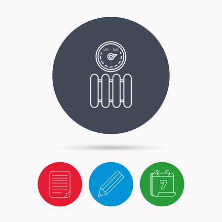 regulator: Radiator with regulator icon. Heater sign. Maximum temperature. Calendar, pencil or edit and document file signs. Vector Illustration