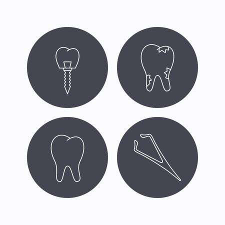 tweezers: Dental implant, caries and tooth icons. Tweezers linear sign. Flat icons in circle buttons on white background. Vector Illustration