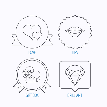 brilliant heart: Love heart, brilliant and gift box icons. Kiss lips linear sign. Award medal, star label and speech bubble designs. Vector Illustration