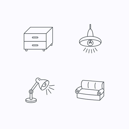 cosy: Sofa, table lamp and nightstand icons. Ceiling lamp linear sign. Flat linear icons on white background. Vector