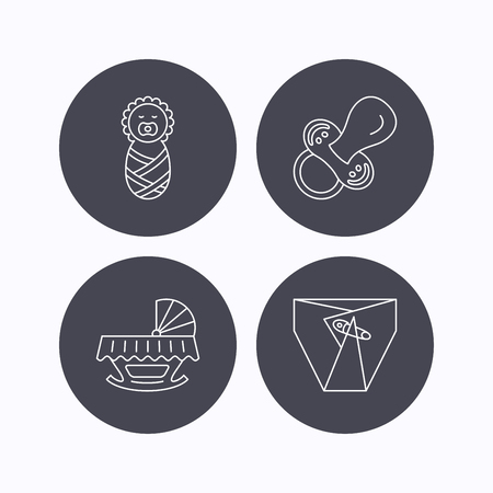 diapers: Pacifier, newborn and diapers icons. Cradle bed linear sign. Flat icons in circle buttons on white background. Vector