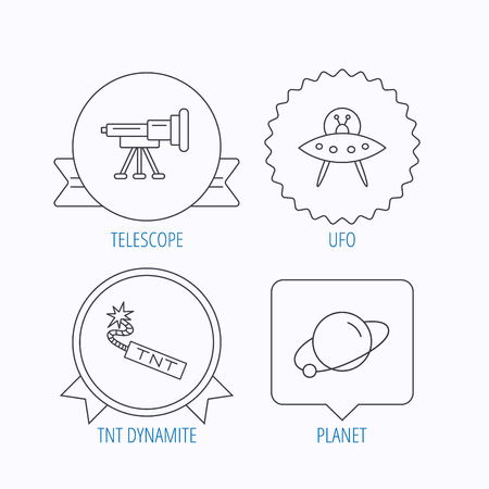 tnt: Ufo, planet and telescope icons. TNT dynamite linear sign. Award medal, star label and speech bubble designs. Vector