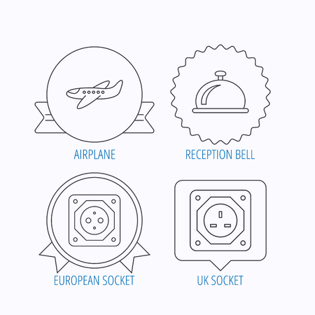 planos electricos: Air-plane, european socket and reception bell icons. UK socket linear sign. Award medal, star label and speech bubble designs. Vector Vectores